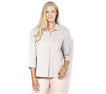 MarlaWynne Striped Ripple Textured Shirt Jacket - 165284