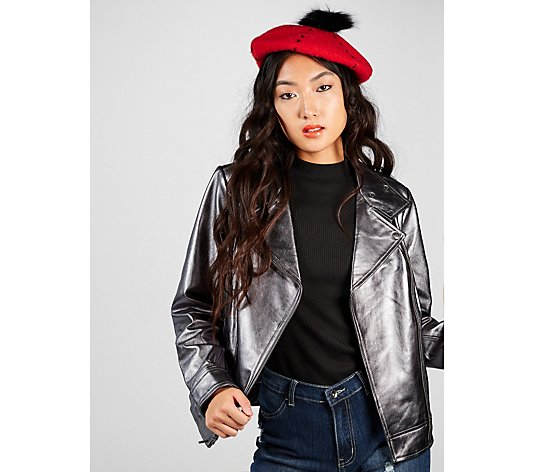 Outlet H by Halston Leather Metallic Moto Jacket