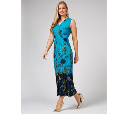 Printed Sleeveless Wrap Front Maxi Dress Regular by Nina Leonard