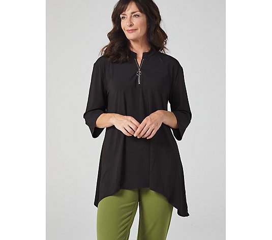 Antthony Designs 3/4 Sleeve Dip Hem Top with Expozed Zipper