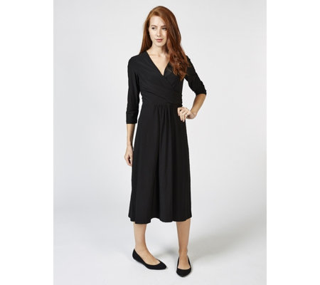 Ronni Nicole 3/4 Sleeve Mock Wrap Dress with Back Zip
