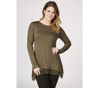 0016f490b67ba Logo by Lori Goldstein Long Sleeve Jersey Top with Lace Trim Detail - 166585