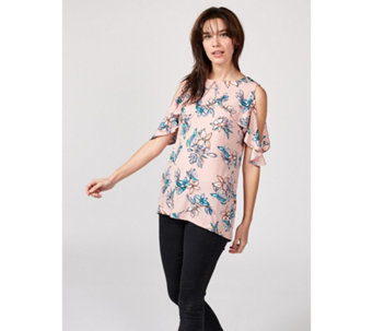 0e314c4c60f1e1 Printed Cold Shoulder Top with Overlay Detail by Nina Leonard - 171485