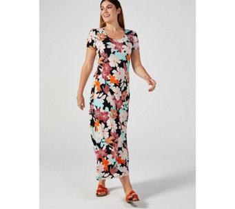 e09f4ff58c8 Kim   Co Brazil Jersey Short Sleeve Hi-Low Hem Maxi Dress Petite - 176485