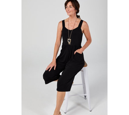 Kim & Co Brazil Jersey Sleeveless Gaucho Jumpsuit with Pockets