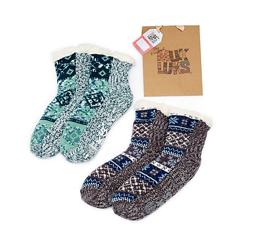 Muk Luks 2 Pair Patterned Cabin Socks With Gift Bag