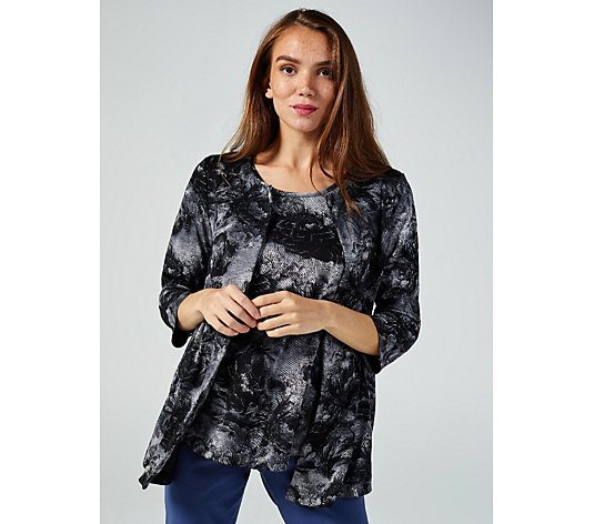 Mr Max Printed Soft Touch Cardigan & Tank Set