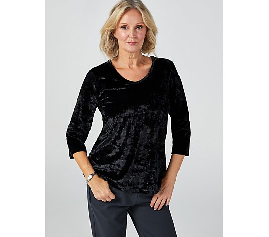Kim & Co Crushed Velvet 3/4 Sleeve Top
