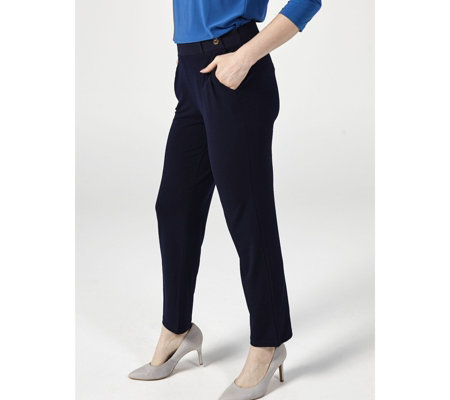 Narrow Leg Stretch Crepe Trouser With Button Tab by Nina Leonard