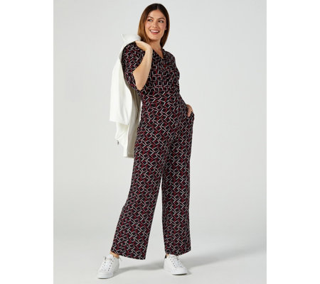 Kim & Co Brazil Jersey 3/4 Sleeve Relaxed Leg Petite Jumpsuit