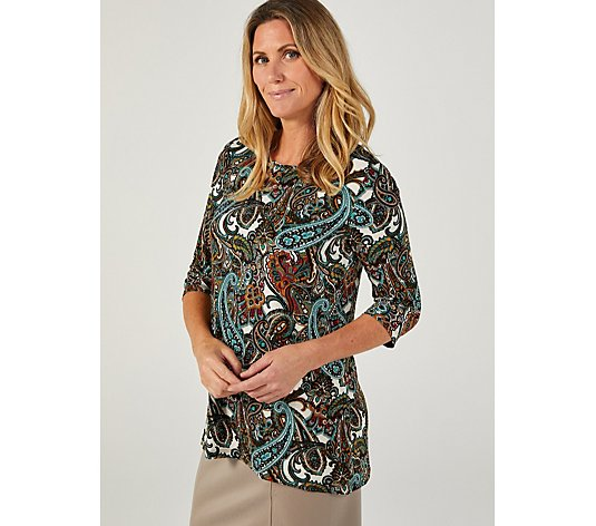 Kim & Co Printed Brazil Jersey 3/4 Sleeve Curved Hem Tunic
