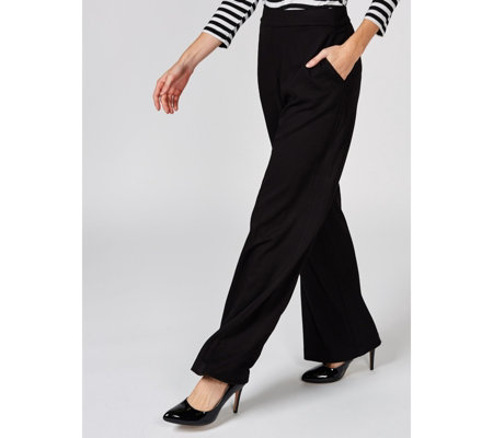 H by Halston Stretch Twill Pull On Wide Leg Trousers Petite