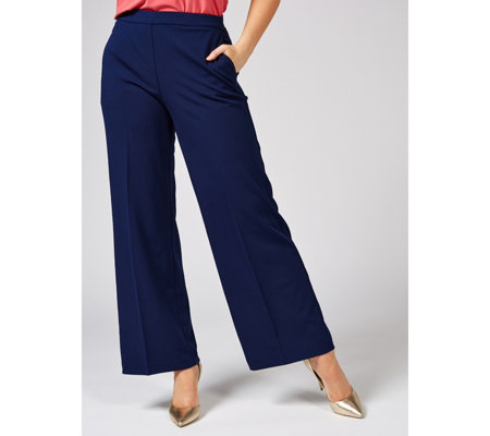 Dennis by Dennis Basso Luxe Crepe Wide Leg Pull On Trousers