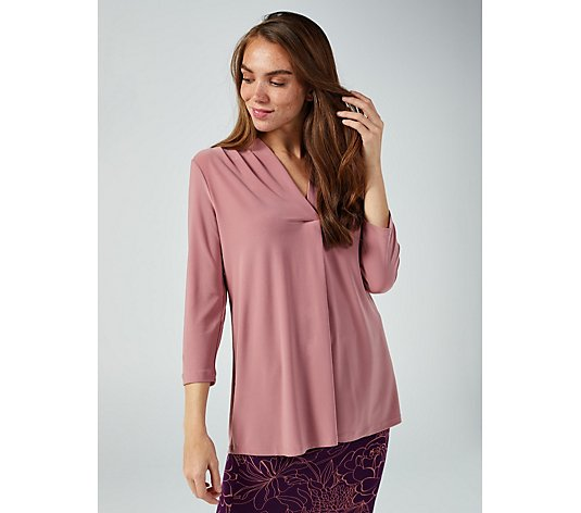 Mr Max Brazil Knit 3/4 Sleeve Top with Ruched Neckline Detail