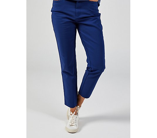 Denim & Co. Trousers Straight Cut High Waist with Pockets