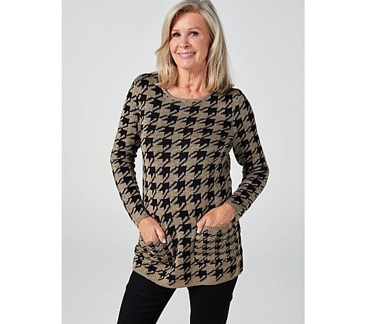 Long Sleeve Boat Neck Houndstooth Jumper Tunic by Nina Leonard