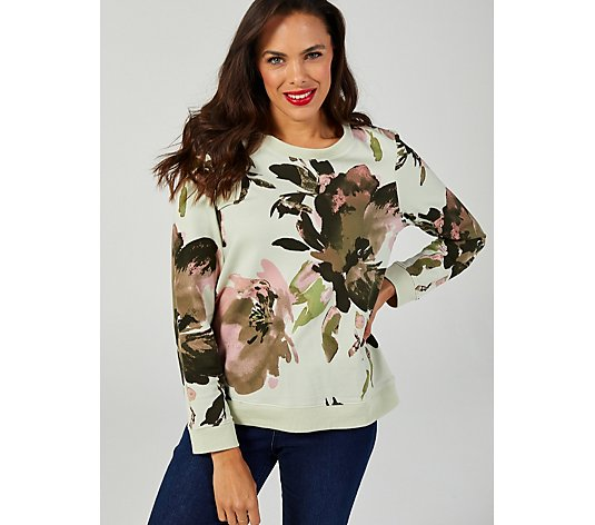 Denim & Co. Printed Floral Jersey Crew Neck Top