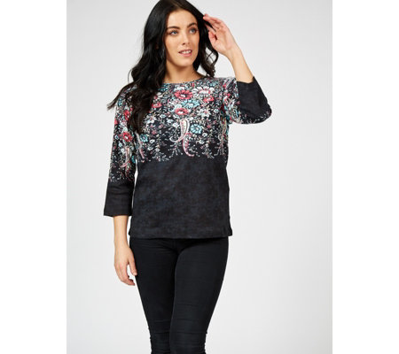 Artscapes Jodphur Paisley 3/4 Sleeve Round Neck Top