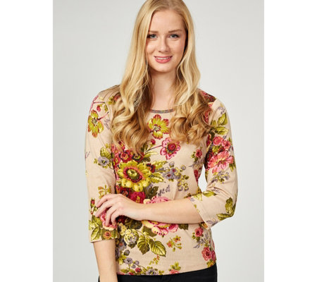 Artscapes Vintage Bloom 3/4 Sleeve Scoop Neck Top