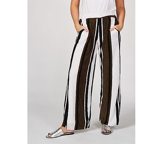 Striped Wide Leg Regular Trousers by Nina Leonard