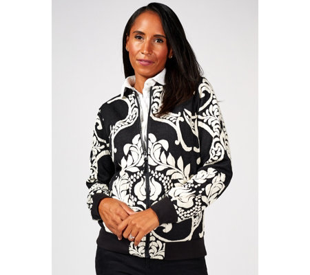 Attitudes By Renee Jacquard Bomber Jacket with Ribbed Cuffs
