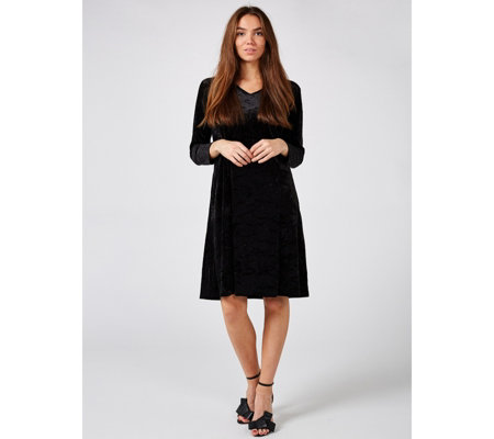 Bob Mackie Velvet Fit Amp Flare Dress With Pockets Qvc Uk