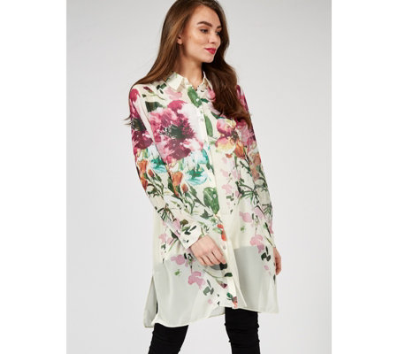 Dennis by Dennis Basso Printed Chiffon Duster with Camisole