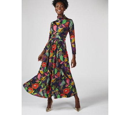 604b67f1a71733 Lauren High Neck Printed Maxi Dress by Onjenu London - QVC UK