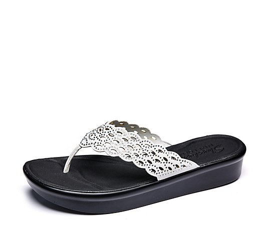 Outlet Skechers Bumblers Bees Knees Lazer Cut Rhinestone Toe-Post Sandal