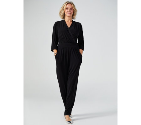 Kim & Co Brazil Jersey Galaxy Foil Trim Tuxedo Jumpsuit Petite