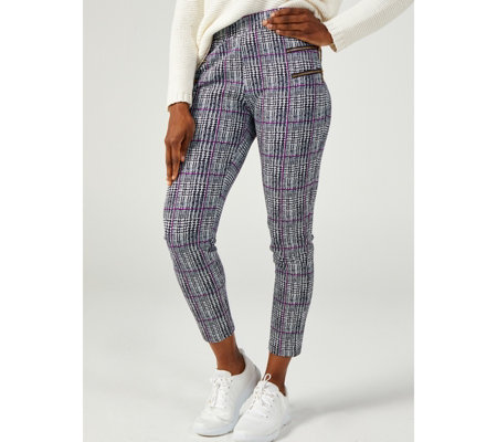 Pull-On Printed High Tech Crepe Regular Trousers with Faux Zip by Nina Leonard