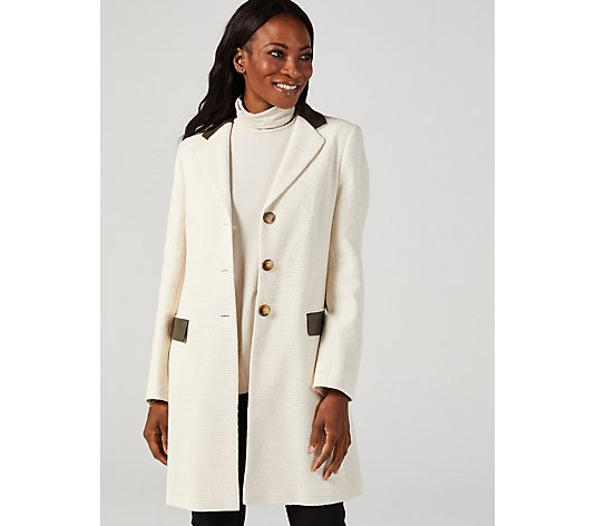 Helene Berman College Coat Faux Leather Detailing