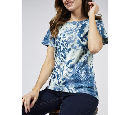 Artscapes Animal Print Short Sleeve Crew Neck Top