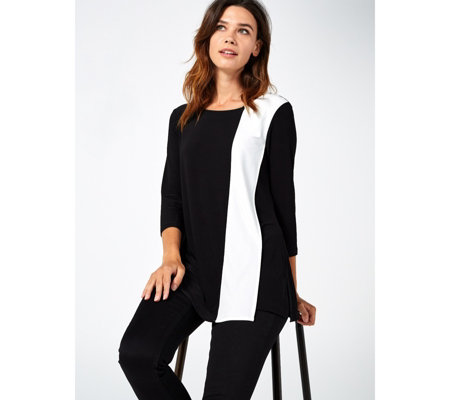 3/4 Sleeve Wrap Over Layered Tunic by Nina Leonard