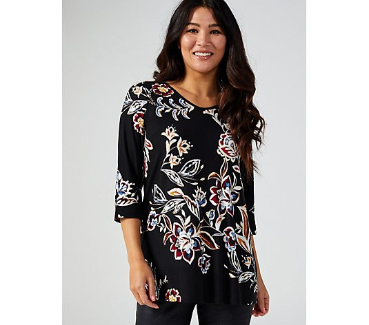 Kim & Co Printed Brushed Venechia with Foil 3/4 Sleeve Tunic