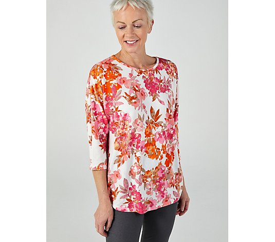 Kim & Co Printed Soft Touch 3/4 Dolman Sleeve Relaxed High-Low Tunic
