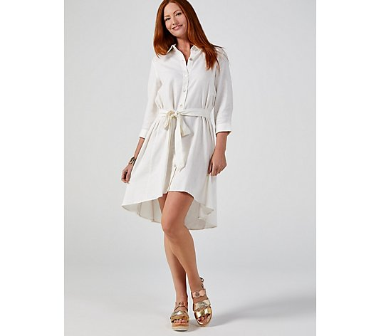 Coco Bianco Longline Linen Shirt with Belt