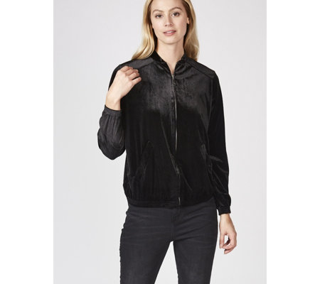 Zip Front Stretch Velvet Bomber Jacket by Nina Leonard