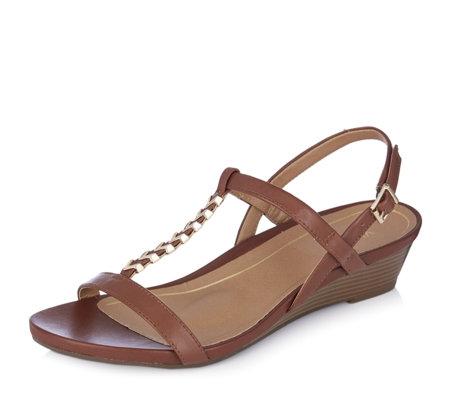 5f88596c08 Vionic Orthotic Port Cali Leather Strappy Wedge Sandal w/ FMT Technology