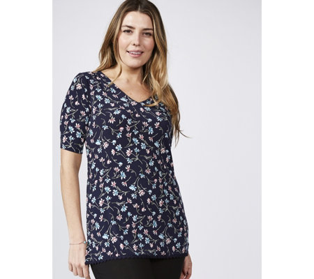 Printed Tunic with Back Detail & Embroidered Hem by Nina Leonard