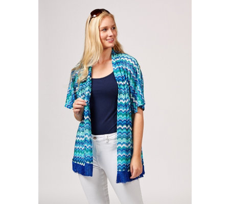 Novelty Knit Kimono with Tassel Trim by Susan Graver