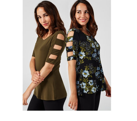 Pack of 2 Plain & Printed Ladder Tops by Nina Leonard
