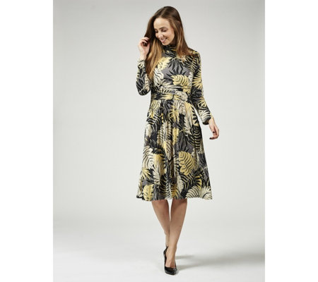 Lauren Leaf Print Midi Dress by Onjenu London