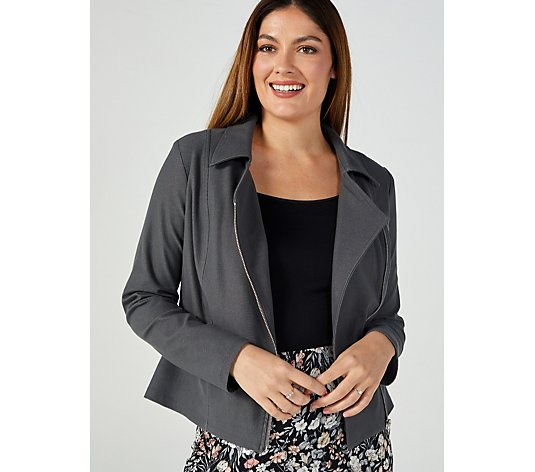 Kim & Co Deluxe Denim Knit Moto Zip Jacket with Tonal Stitching