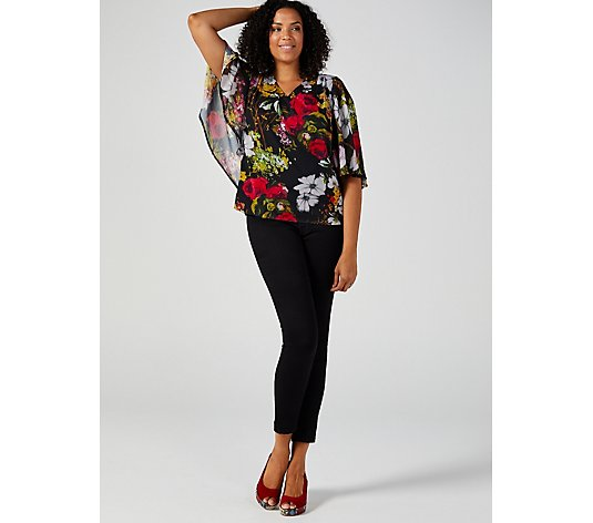Butler & Wilson Fan Sleeve Top with Mixed Floral Print