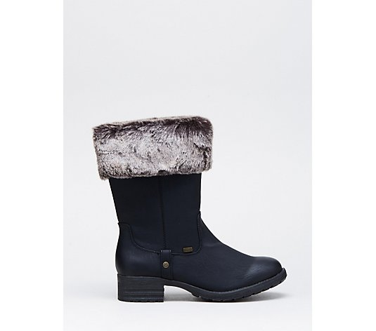 Rieker Faux Fur Roll Top water resistant Boot