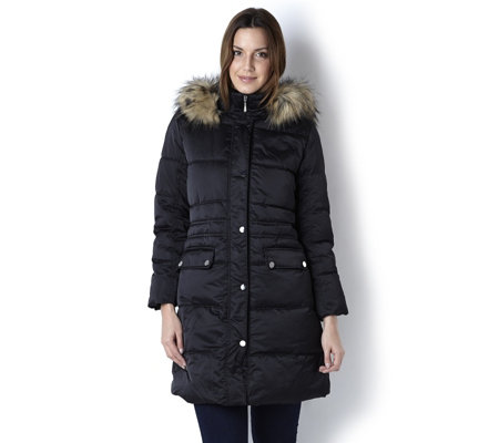 Centigrade Faux Down Washable Coat with Detachable Faux Fur Trim Hood