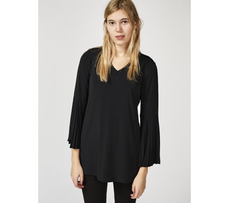 Attitudes by Renee V Neck Top with Long Pleated Bell Sleeves