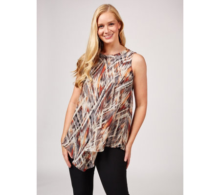 Sleeveless Printed Sheer Chiffon Scarf Top by Susan Graver