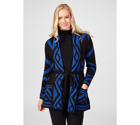 Dennis by Dennis Basso Belted Printed Cardigan